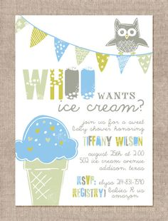 Whoo Wants Ice Cream Baby Shower Invitation by 300SunnyDays, $16.00