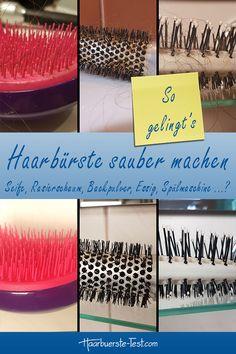Wie gelingt das Haarbürste säubern am besten? Mit Seife, Rasierschaum, Backpulver, Essig, in der Spülmaschine? Wir machten den Praxis Test ... Praxis Test, Schaum, Eyeshadow, Skin Care, Hair, Cleaning Hair Brushes, Best Hair Brush, Shaving, Home Remedies
