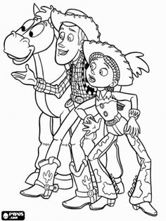 Woody, Jessie and the horse Bullseye coloring page