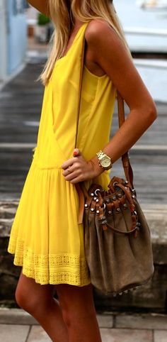 yellow!  Summer is coming. Yea!!! Sunny soleil for the hot climate in St. Barths- looks great with a tan!