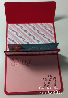 Stamp with Rose: Cute Christmas Gift Card Holder inside