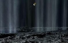 Artists view of Cassini passing through the geyser plumes of Enceladus.