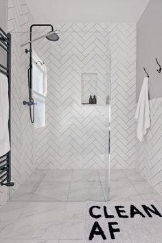 Modern monochrome bathroom designs for showering in style - Modern Monochrome Bathroom Ideas: Black & White Bathroom Inspiration - Metro Tiles Bathroom, White Bathroom Tiles, Grey Bathrooms, Small Bathroom, Bathroom Ideas, Bathroom Trends, Grey Tiles, Brown Bathroom, Grey Tile Shower