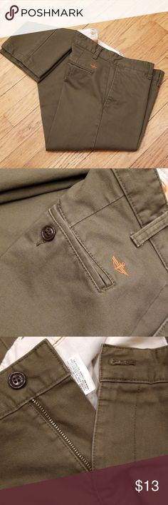 Sz 0 NWOT Womens Green Brown Pants DOCKERS Flat Front Rear Button Pockets