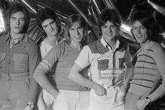 Scottish pop group The Bay City Rollers, January Left to right: Alan Longmuir, Les McKeown, Derek Longmuir, Eric Faulkner and John Devine. Bay City Rollers, Les Mckeown, Stuart Woods, Pop Rock Bands, Teenage Dream, No One Loves Me, Pop Group, First Love, Singer
