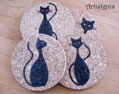 Cat Silhouettes Cork Coasters Set of Four 4  by ArtisIgnis on Etsy, €12.00