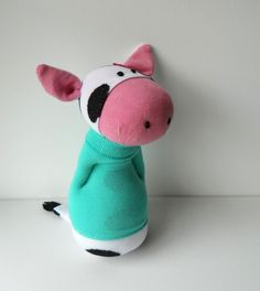 Sock cow, sock animal, doll, soft sculpture, Ermintrude. $25.00, via Etsy.