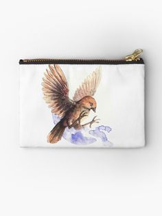 Litle and cute bird. A Zipper pouch with a Sparrow. A cute little bird. Adorable and lovely. A nice watercolor illustration of bird. Framed Prints, Canvas Prints, Art Prints, Cute Birds, Watercolor Illustration, Gifts For Family, Zipper Pouch, Sell Your Art, Cotton Tote Bags