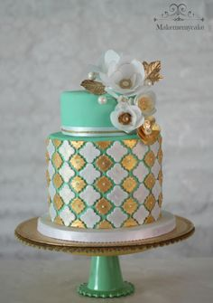 Green and gold cake with wafer paper flowers!!
