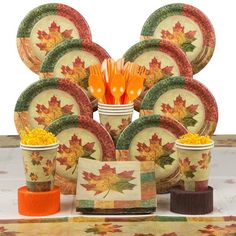Check out Rustic Fall Party Deluxe Tableware Kit Serves 8 - Wholesale Party Supplies from Wholesale Party Supplies