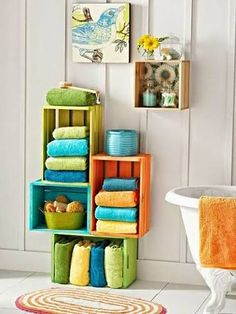 painted wood crates as a fun storage for a family bath - 17 Repurposed DIY Bathroom Storage Solutions Creative Bathroom Storage Ideas, Bathroom Towel Storage, Bathroom Storage Solutions, Bath Storage, Diy Storage, Bathroom Ideas, Bathroom Interior, Storage Design, Storage Bins