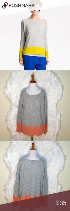 """Vince ColorBlock Gray/Peach Cashmere Sweater L65-Vince colorblocked sweater, rouch neckline, relaxed silhouette, hi-low hem, pullover style. 100% cashmere. (it has alittle blemish show on the 4th photo but unnoticesable). Laid flat across @ bust: 22"""", Length: 26"""". NWOT Vince Sweaters Crew & Scoop Necks"""
