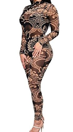 0485c543a3f1 XQS Women s Sexy Floral See-Through Leotard Long Pant Jumpsuits Rompers