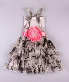 Look what I found on #zulily! White & Black Floral Tutu Dress - Toddler & Girls by Mia Belle Baby #zulilyfinds