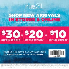 pinned november 21st 10 off 20 more at rue21 or online via promo code 001821 coupon via the coupons app clothes pinterest coupons