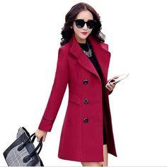 Autumn winter 2018 new fashion women& wool coat double breasted coat elegant bodycon cocoon wool long coat tops Long Wool Coat, Wool Trench Coat, Wool Coats, Winter Coats Women, Coats For Women, Double Breasted Coat, Beautiful Asian Women, New Fashion, Fashion Women