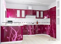 Print on glass - A purple kitchen