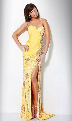strapless yellow prom dress