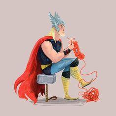Skills (Thor) Art Print by Karl James Mountford