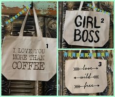 "This week's giveaway spotlights The Loft on Main's ""talking totes""!  Comment...  Like...  & Share to WIN!   http://ishoptheloft.com/products/i-love-you-more-than-coffee-canvas-tote-bag  http://ishoptheloft.com/products/girl-boss-canvas-tote-bag   http://ishoptheloft.com/products/love-wild-free-canvas-tote-bag"
