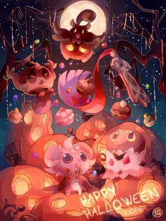 Best Halloween Pokémon Art images.  #halloween #pokemon Pokemon Halloween, Anime Halloween, Cool Pokemon Pictures, Pokemon Images, Ghost Type Pokemon, Chibi, Cute Pokemon Wallpaper, Pokemon Comics, Halloween Wallpaper