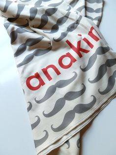 Personalized Baby Blanket, Mustache, Customize Color and Name, Baby Gift- this is SO cute! :)