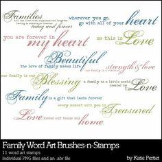 Family Word Art Brushes and Stamps- Katie Pertiet Brushes- DS173439- DesignerDigitals