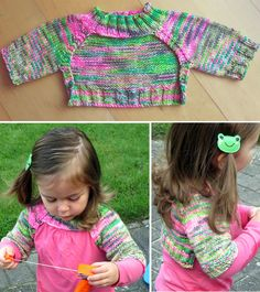 Free Knitting Pattern for Easy Peppar Shrug - Pullover shrug with ribbed front collar so it will stay on little ones comfortably. Knit top down without seams. Sizes Newborn-3m/6-12m/12-18m/2-3y (4-6y/8y/10y/12y). Worsted weight yarn. Designed by Yarn-Madness. Rated very easy by Ravelrers. Pictured project bylistentothelion
