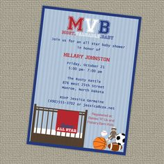 sports baby shower | Sports Baby Shower, All Star Invite, Sports themed, MVB, digital ...