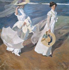 [フリー絵画素材] ホアキン・ソローリャ - 海岸沿いの散歩 (1909) ID:201312231800