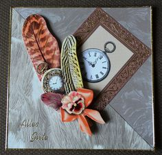 3D+Karte+Federn+mit+Uhr+inkl.+Umschlag+von+Pattys+Kartenwelt+auf+DaWanda.com