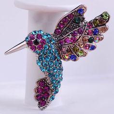 Aves Joyería de La vendimia de plata Color Crystal Broches Bouquet Hajab Pin Up Joyería de La Boda Broche Broche de La Mezcla Mucho mayor