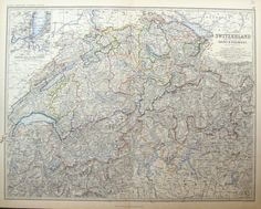 """Large Antique Map by W. & A.K. Johnston - """"SWITZERLAND & THE ALPS OF SAVOY & PIEDMONT"""" - Coloured - 1861"""
