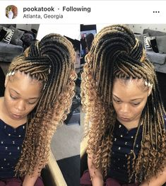 Pinterest:@jalissalyons Braided Hairstyles For Black Women Cornrows, Feed In Braids Hairstyles, Black Ponytail Hairstyles, Faux Locs Hairstyles, Dope Hairstyles, Woman Hairstyles, Beautiful Hairstyles, Hairdos, Hairstyle Ideas