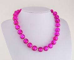 Silver Ep Fuschia Hot Pink Glass Bead Necklace w/ Toggle Clasp #StrandString