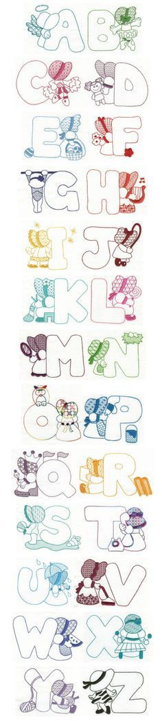 Here is a beautiful set of Sunbonnet Sue alphabet in redwork (or use any color you choose, as shown in the stitchouts! Embroidery Alphabet, Cross Stitch Alphabet, Embroidery Applique, Cross Stitch Embroidery, Free Machine Embroidery Designs, Applique Patterns, Quilt Patterns, Sue Sunbonnet, Needlework