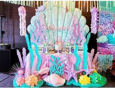 New Party Pool Decorations Mermaid Birthday Ideas Mermaid Theme Birthday, Little Mermaid Birthday, Little Mermaid Parties, Mermaid Themed Party, Baby Birthday, Mermaid Party Decorations, Birthday Party Decorations, Birthday Parties, Pool Decorations