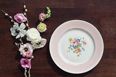 Pink vintage plates for weddings and wedding rentals. California & Hawaii event rentals specializing in vintage pieces. Rent pink dishes, bridal shower, pink wedding, pink plates