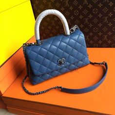 77a1fa319872 Chanel Battleship Blue Calfskin Lizard Coco Handle Small Bag - Bella Vita  Moda  chanel