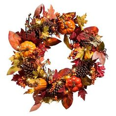 "Improvements Pre-Lit Pumpkin Wreath-24"" ($70) ❤ liked on Polyvore featuring home, home decor, holiday decorations, pumpkin wreath, fall leaf wreath, twig wreath, berry wreath and fall wreaths"