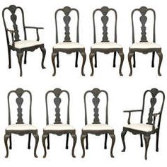 Set of Eight Rococo Style Chairs