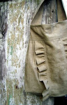 Items similar to French Market Bag . burlap and jute ruffle tote from down de bayou on Etsy Burlap Tote, Hessian, Do It Yourself Inspiration, Burlap Projects, Fabric Bags, Market Bag, Purses And Bags, Apron, My Style