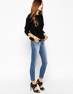 J Brand Cropped Skinny Jeans With Mid Blue Wash