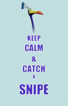 Disney Up. Keep Calm & Catch a Snipe. I want my very own kevin!! Alma says I'm crazy. But I'm just a little tad bit. Not much