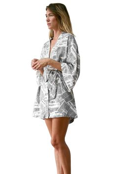 Kimono Gown - Newspaper print  $95 Available now on recliner.nyc