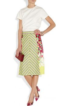 Marc Jacobs | Tweed and floral-print crepe skirt | NET-A-PORTER.COM