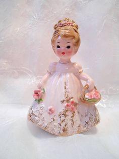 Vintage Josef Originals Flower Girl Figurine with Basket Roses❤❤❤