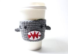 Coffee Cozy Shark, Shark Week Coffee Sleeve, Animal Can Holder, Crochet Drink Cup Holder, Sharknado Java Jacket