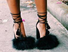 Shoe wish list - Black Fur Heels <3