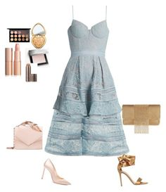 """""""My little blue dress💋"""" by explorer-14901450023 on Polyvore featuring Jimmy Choo, Gianvito Rossi, Whiting & Davis, RALPH & RUSSO, Burberry, MAC Cosmetics, Too Faced Cosmetics and Laura Mercier"""